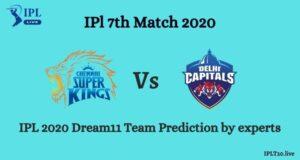 IPL 2020: CSK Vs DC Dream11 Team Prediction  