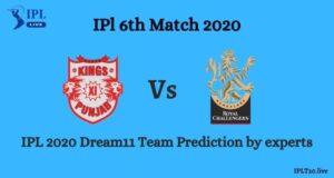 IPL 2020: KXIP Vs RCB Dream11 Team Prediction  