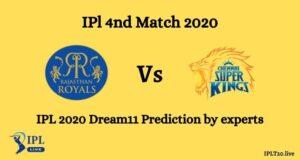 IPL 2020: RR Vs CSK Dream 11 Team Prediction