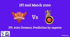 IPL 2020: SRH Vs RCB Dream11Team Prediction   Created